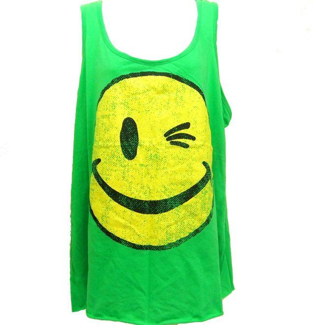 Womens Joe Boxer Green Tank Top Winking Smiley 1X Plus
