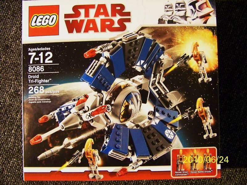 LEGO STAR WARS DROID TRI FIGHTER # 8086 268 pcs. 3 minifigs MIB