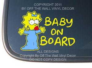 Maggie Simpson BABY ON BOARD Vinyl Car Decal Sticker