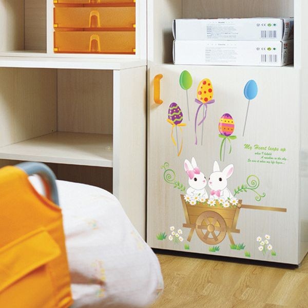 BUNNY RABBITS Wall Decor Sticker Nursery Kids Removable