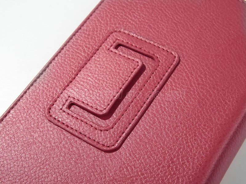 Folio Case Cover/Car Charger/USB Cable/Stylus/Earphone Red