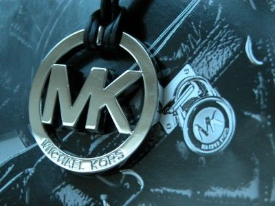 New Michael Kors Polished Silver Chrome MK & Black Leather Strap