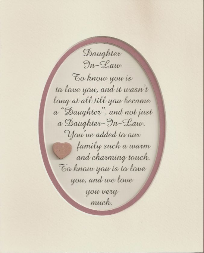 DAUGHTERs IN LAW Charming Love verses poems plaques