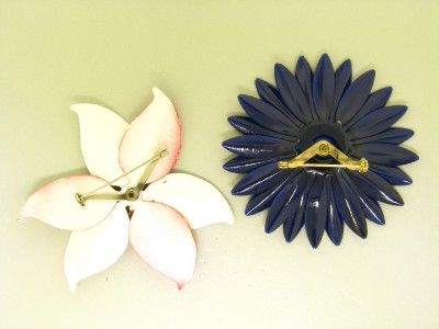 SETS  LOT 11 ENAMEL RETRO flower power PINK BROOCHES CORO EARRINGS