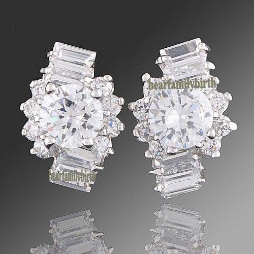18k white gold GP SWAROVSKI crystal gorgeous earring studs E76