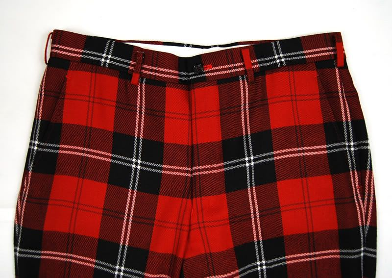 COMME DES GARCONS HOMME PLUS Red Plaid PANTS LARGE NWOT